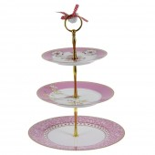 3 tier pink white cake stand