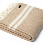 Tweedmill Pure New Wool Fishbone  Two Stripe Throw Fawn & Cream