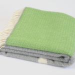 Tweedmill Pure New Wool Illusion Panel Throw Green & Grey