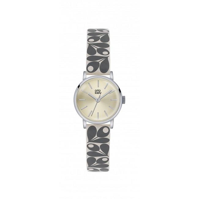 orla kiely patricia grey cream tan watch ok2043
